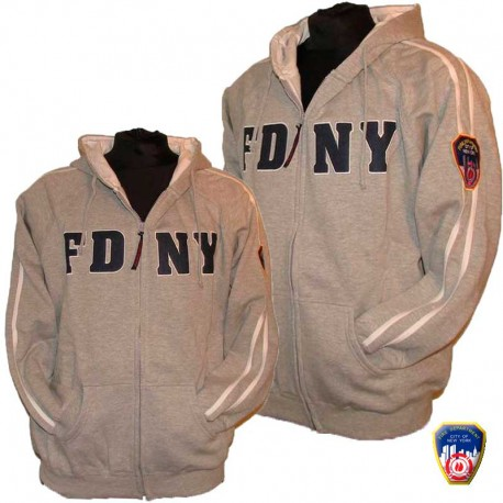 Sweat full zip brodé FDNY Gris