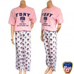 Pyjama FDNY Rose et Blanc